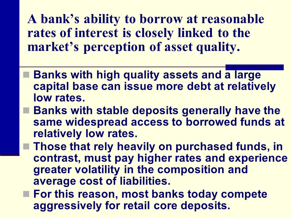 A bank's ability to borrow at reasonable rates of interest is closely linked to the market's perception of asset quality. Banks with high quality asse