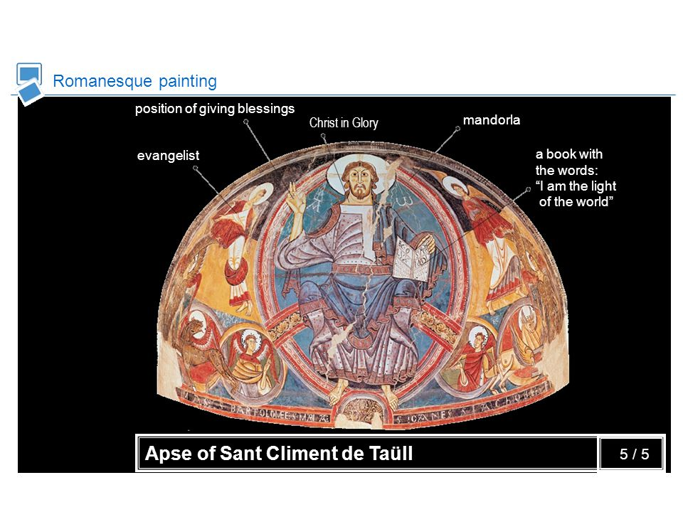 Romanesque painting Apse of Sant Climent de Taüll evangelist position of giving blessings Christ in Glory mandorla a book with the words: I am the light of the world 5 / 5