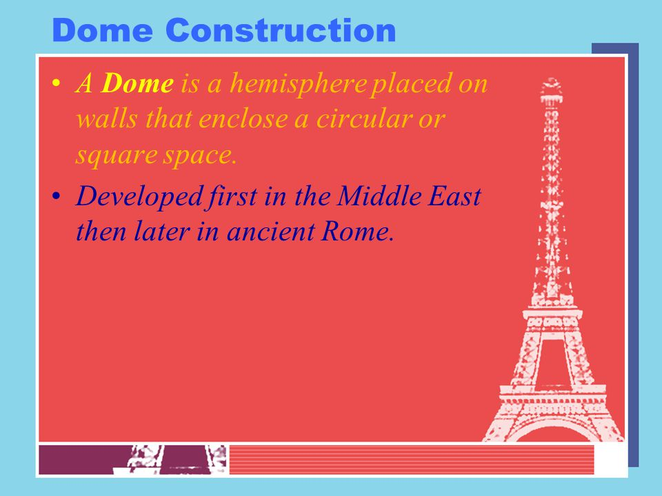 Dome Construction A Dome is a hemisphere placed on walls that enclose a circular or square space.