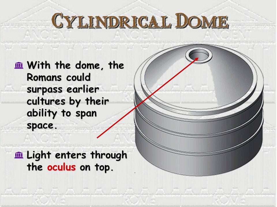 Cylindrical Dome K With the dome, the Romans could surpass earlier cultures by their ability to span space.
