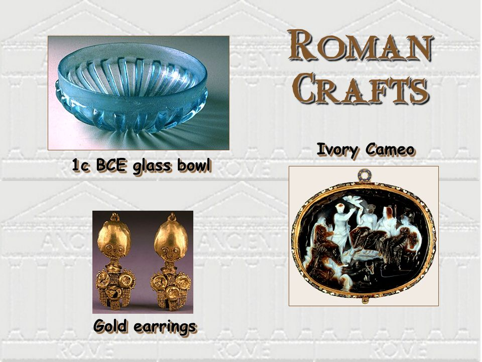 Roman Crafts 1c BCE glass bowl Ivory Cameo Gold earrings