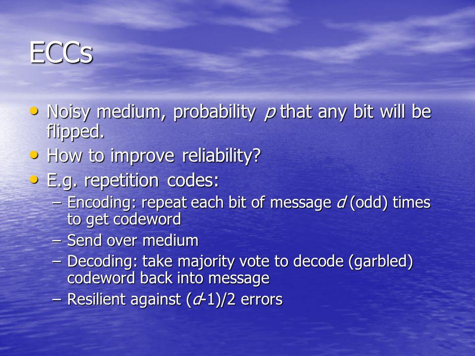 ECCs Noisy medium, probability p that any bit will be flipped. Noisy medium, probability p that any bit will be flipped. How to improve reliability? H