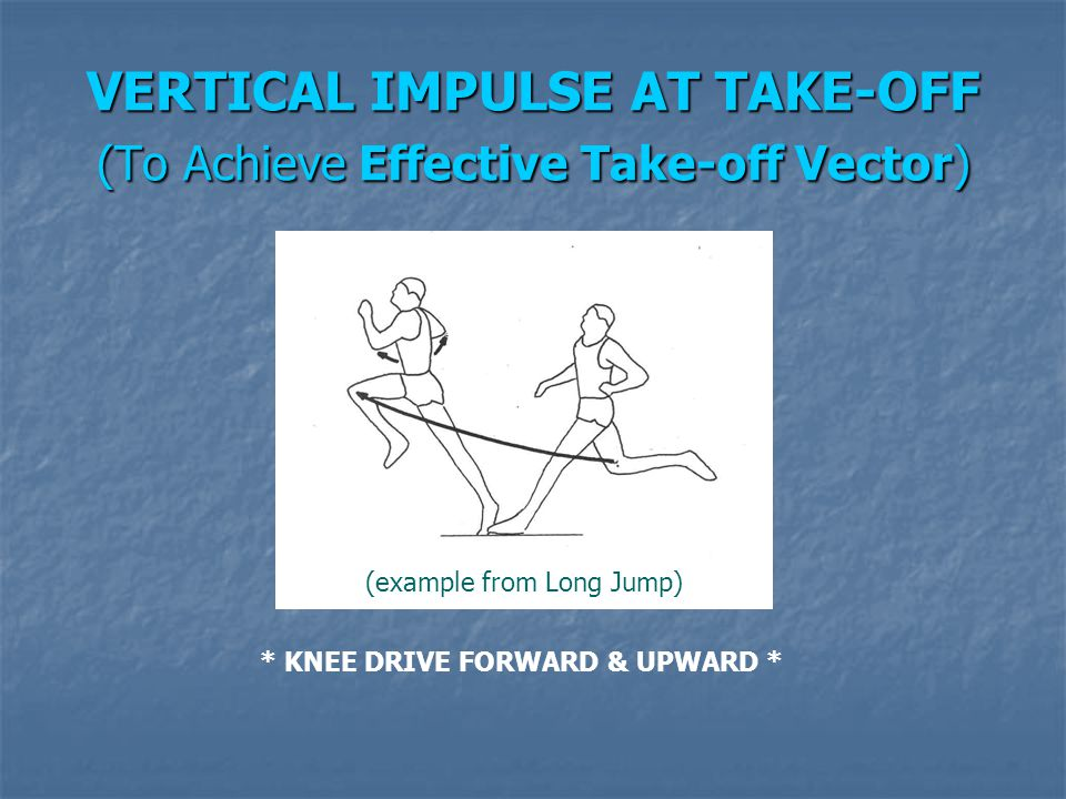 VERTICAL IMPULSE AT TAKE-OFF (To Achieve Effective Take-off Vector) (example from Long Jump) * KNEE DRIVE FORWARD & UPWARD *