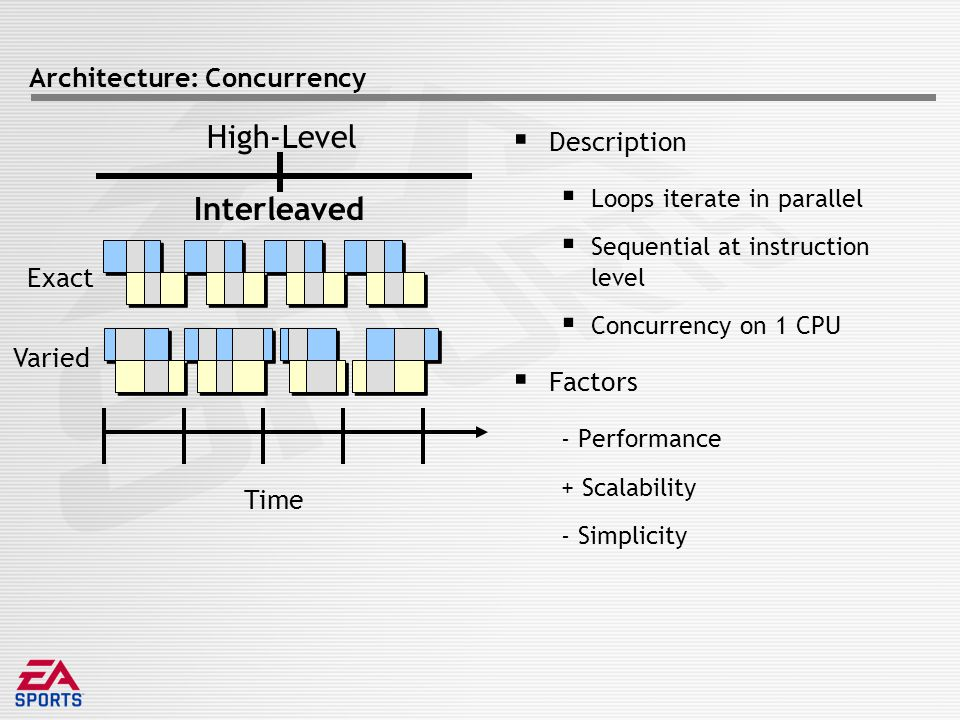 Architecture: Concurrency  Description  Loops iterate in parallel  Sequential at instruction level  Concurrency on 1 CPU  Factors - Performance + Scalability - Simplicity Time Exact Varied Interleaved High-Level