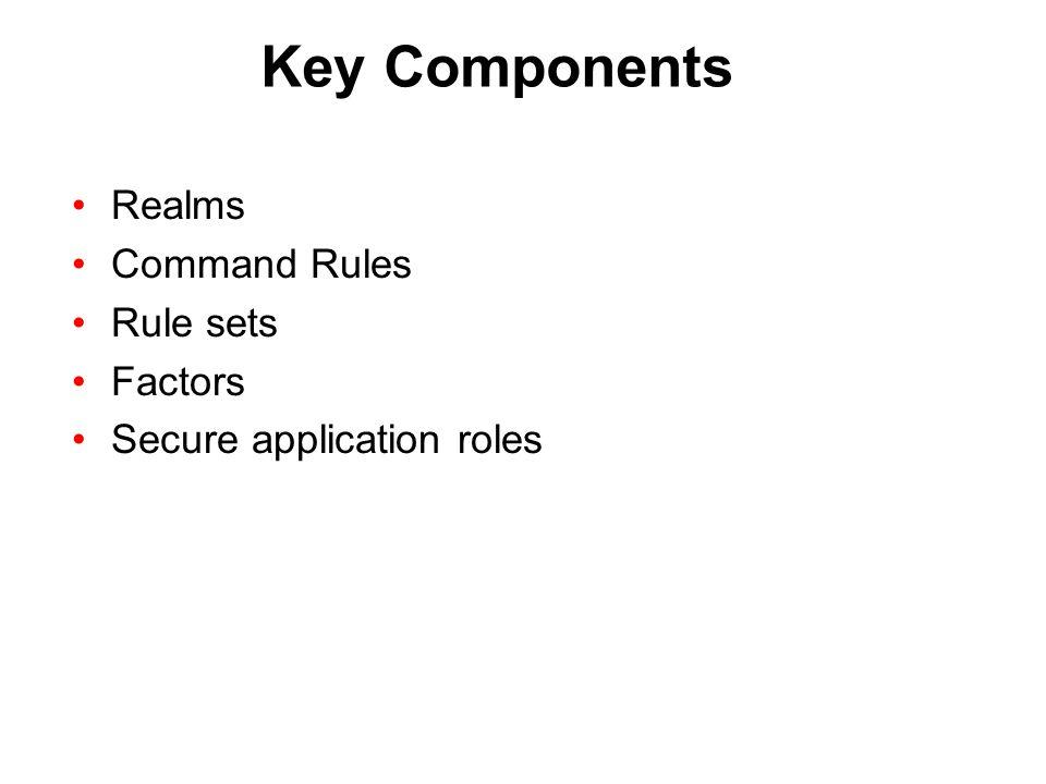 Key Components Realms Command Rules Rule sets Factors Secure application roles
