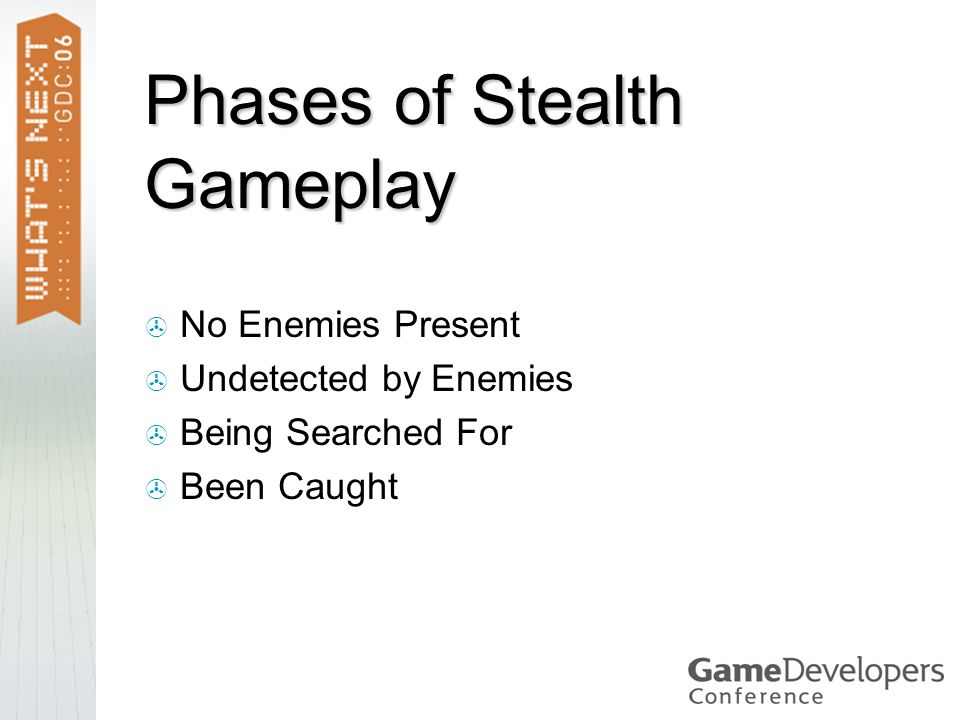 Phases of Stealth Gameplay  No Enemies Present  Undetected by Enemies  Being Searched For  Been Caught