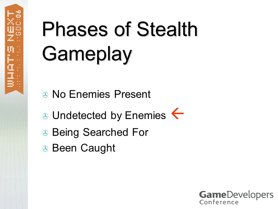 Phases of Stealth Gameplay  No Enemies Present  Undetected by Enemies   Being Searched For  Been Caught