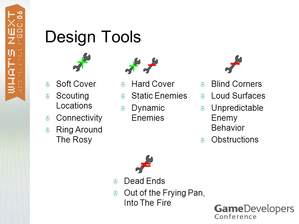 Design Tools  Soft Cover  Scouting Locations  Connectivity  Ring Around The Rosy  Hard Cover  Static Enemies  Dynamic Enemies  Blind Corners  Loud Surfaces  Unpredictable Enemy Behavior  Obstructions  Dead Ends  Out of the Frying Pan, Into The Fire