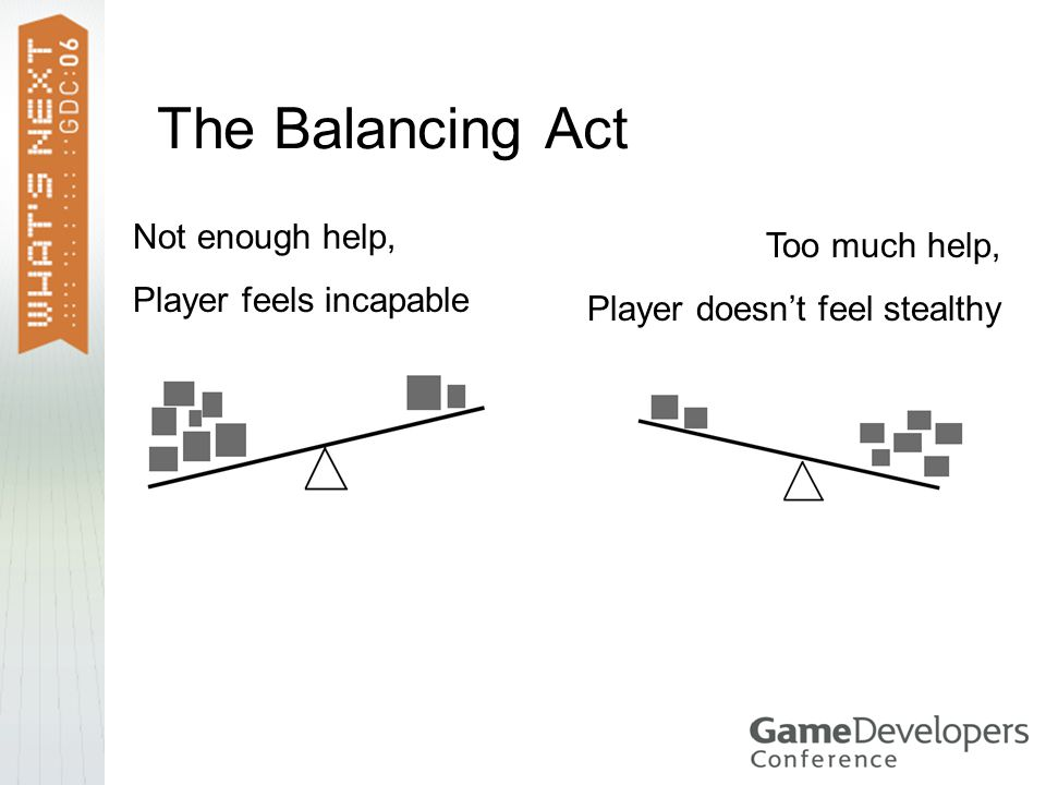 The Balancing Act Not enough help, Player feels incapable Too much help, Player doesn't feel stealthy