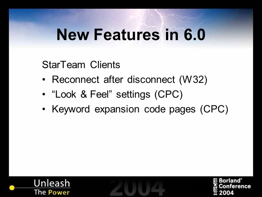 New Features in 6.0 StarTeam Web Edition Switched to Sun JRE from MS JVM MPX enabled Takes advantage of SDK caching Recognizes host IIS locale settings and now supports non-English character sets New icons in Layout Designer