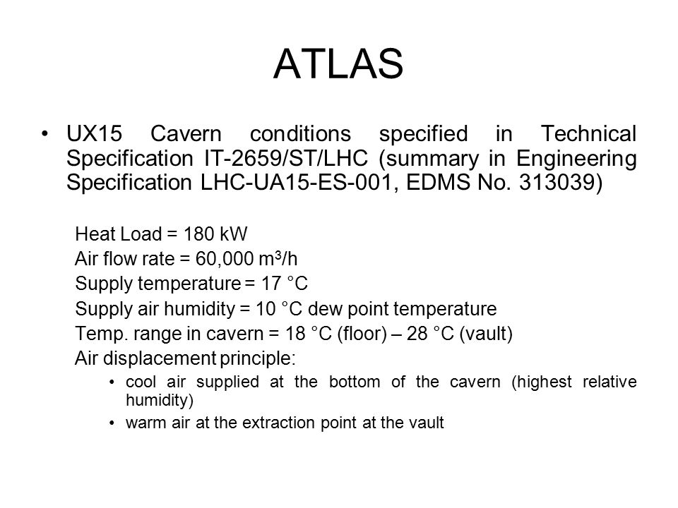 ATLAS UX15 Cavern conditions specified in Technical Specification IT-2659/ST/LHC (summary in Engineering Specification LHC-UA15-ES-001, EDMS No.