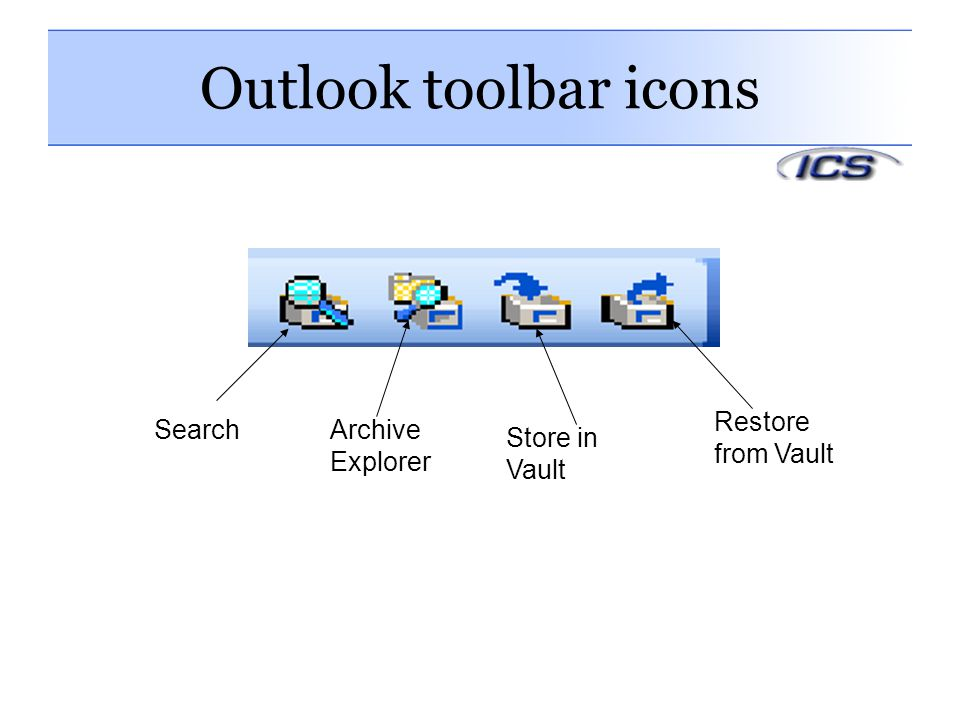 Outlook toolbar icons SearchArchive Explorer Store in Vault Restore from Vault