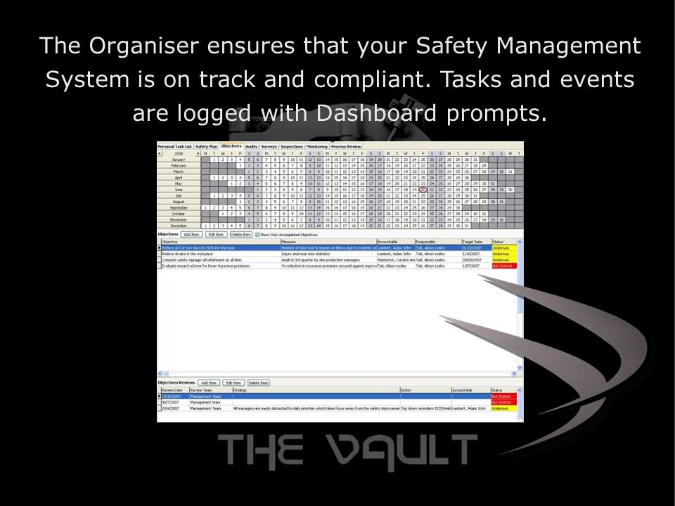 The Organiser ensures that your Safety Management System is on track and compliant.