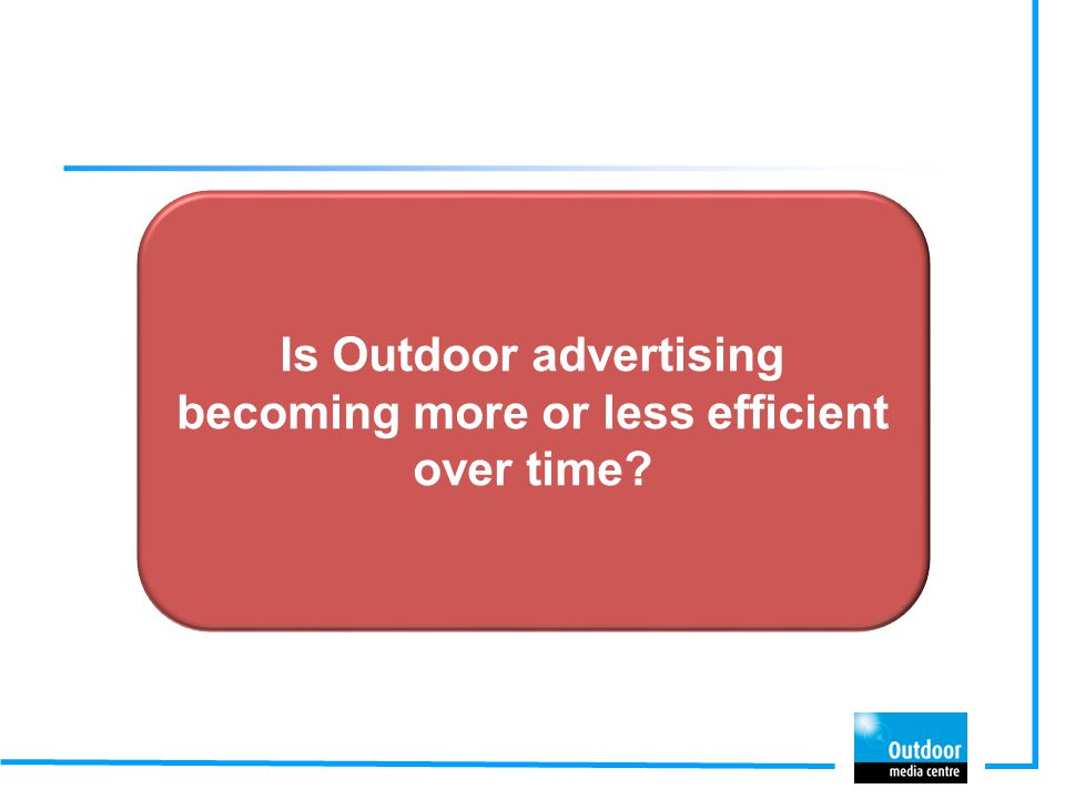 Is Outdoor advertising becoming more or less efficient over time?