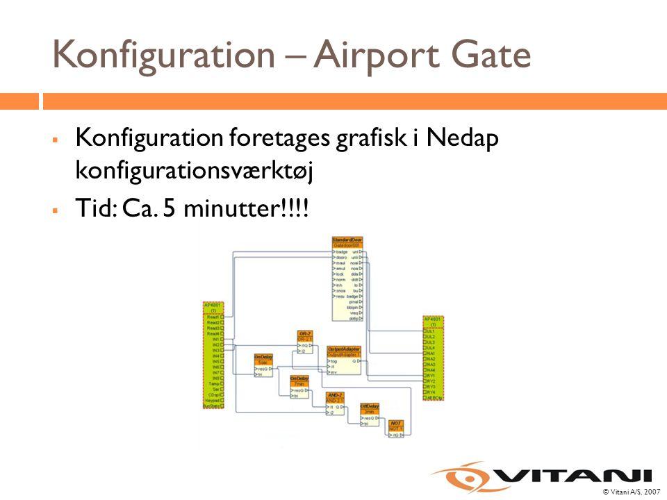 © Vitani A/S, 2007 Konfiguration – Airport Gate  Konfiguration foretages grafisk i Nedap konfigurationsværktøj  Tid: Ca.