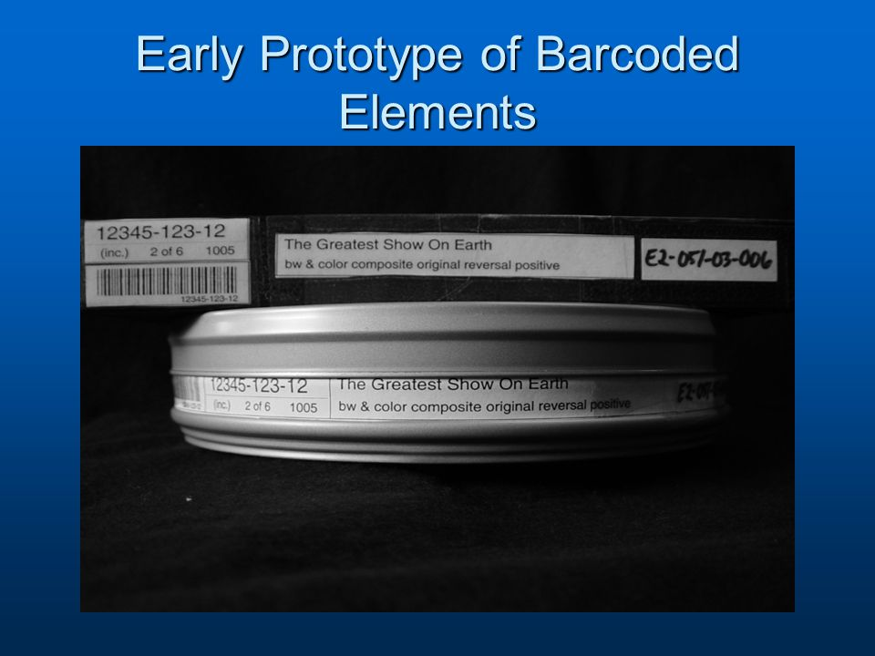 Early Prototype of Barcoded Elements