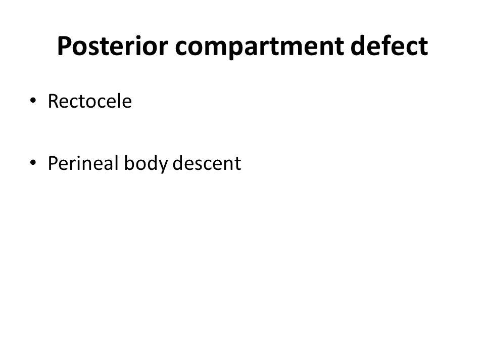 Posterior compartment defect Rectocele Perineal body descent
