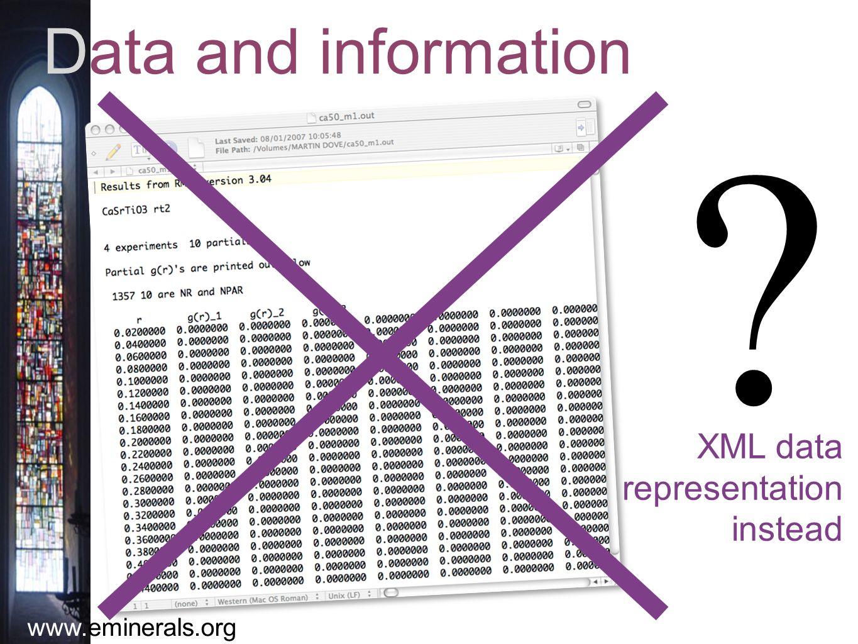 www.eminerals.org Data and information XML data representation instead