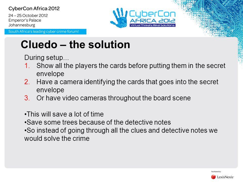 Cluedo - the tools