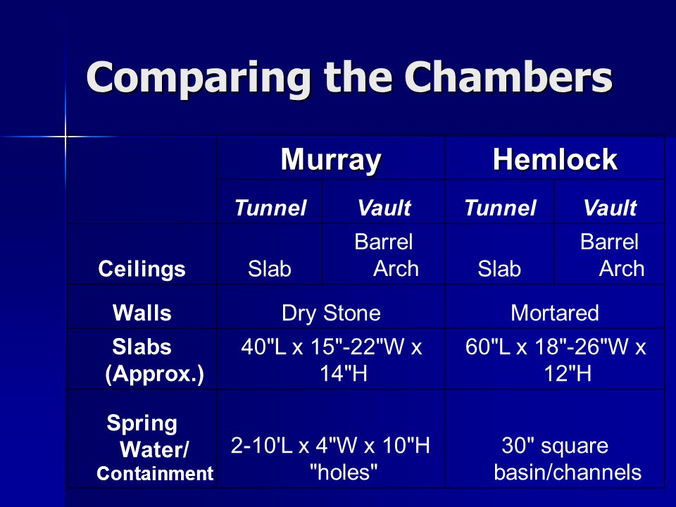 Comparing the Chambers MurrayHemlock TunnelVaultTunnelVault CeilingsSlab Barrel ArchSlab Barrel Arch WallsDry StoneMortared Slabs (Approx.) 40