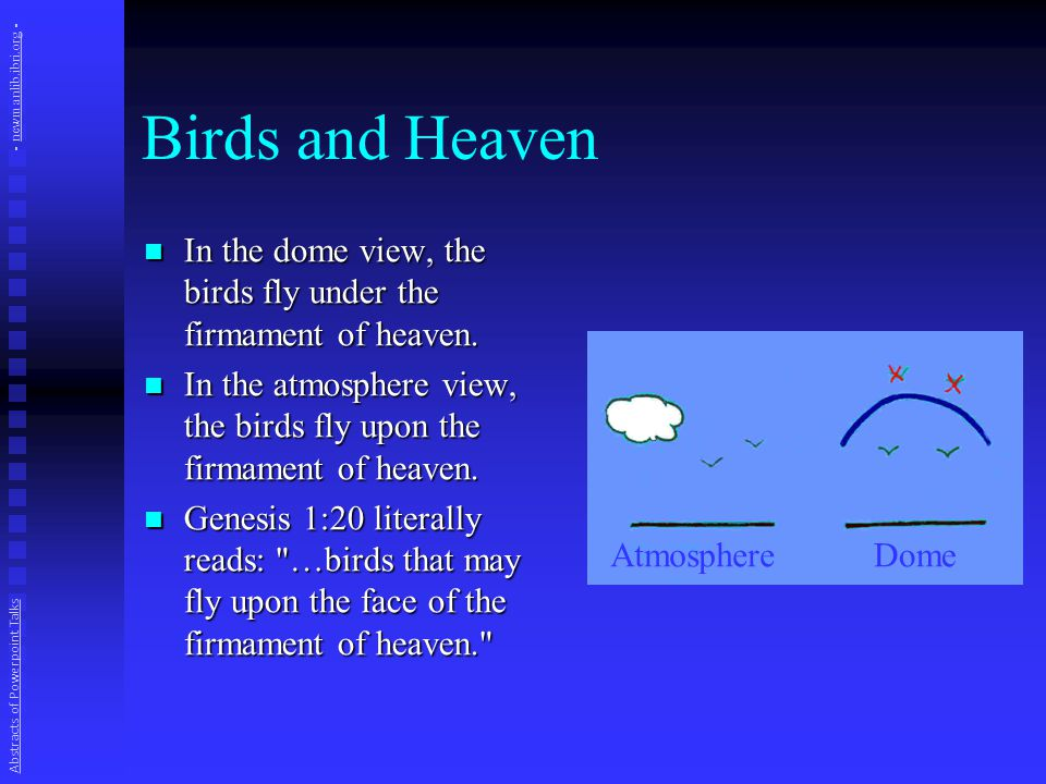 Birds and Heaven In the dome view, the birds fly under the firmament of heaven.