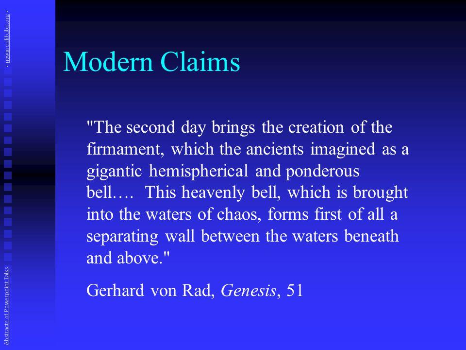 Alleged Biblical Cosmos Abstracts of Powerpoint Talks - newmanlib.ibri.org -newmanlib.ibri.org