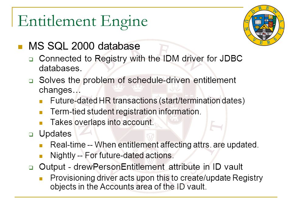 Entitlement Engine MS SQL 2000 database  Connected to Registry with the IDM driver for JDBC databases.