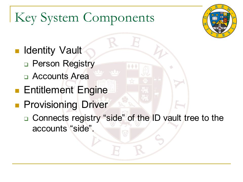Key System Components Identity Vault  Person Registry  Accounts Area Entitlement Engine Provisioning Driver  Connects registry side of the ID vault tree to the accounts side .