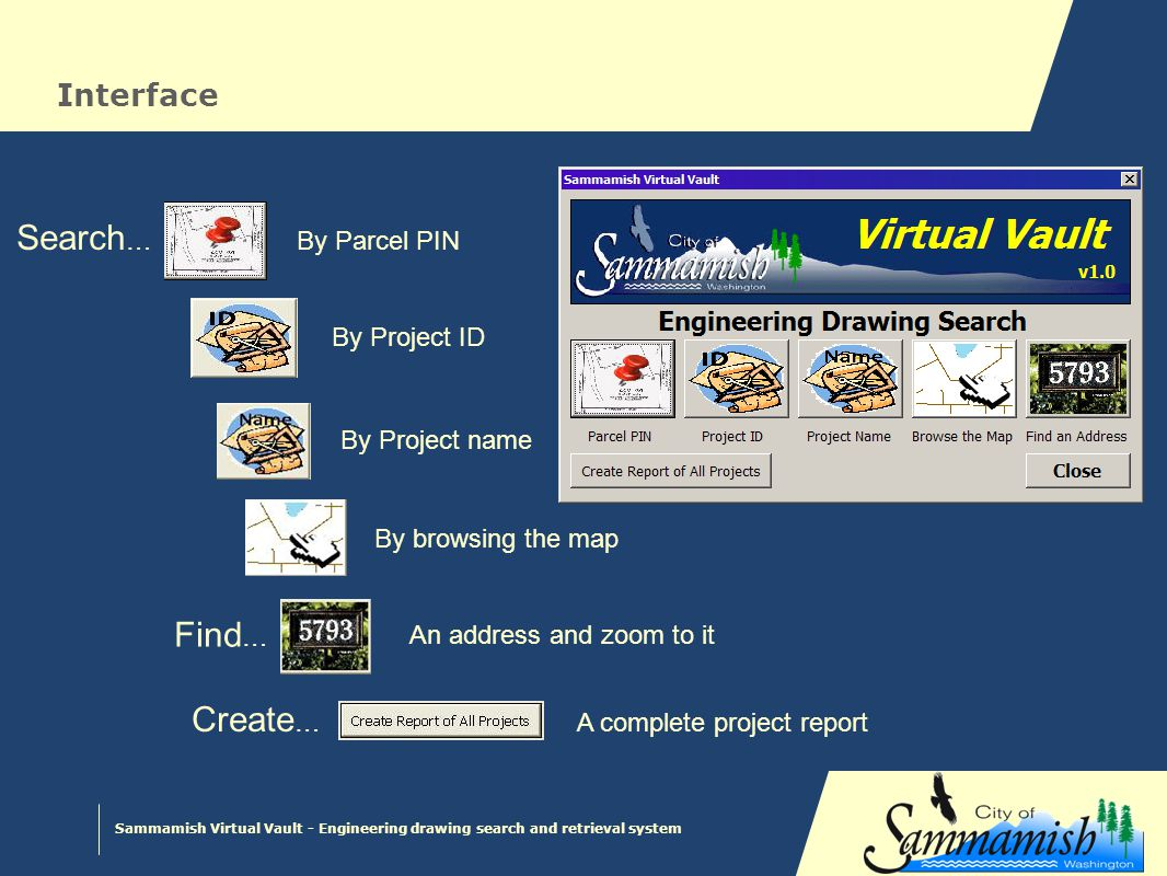 Sammamish Virtual Vault - Engineering drawing search and retrieval system VBA Script Responds to UI button clicks Uses address locator Invokes appropriate report