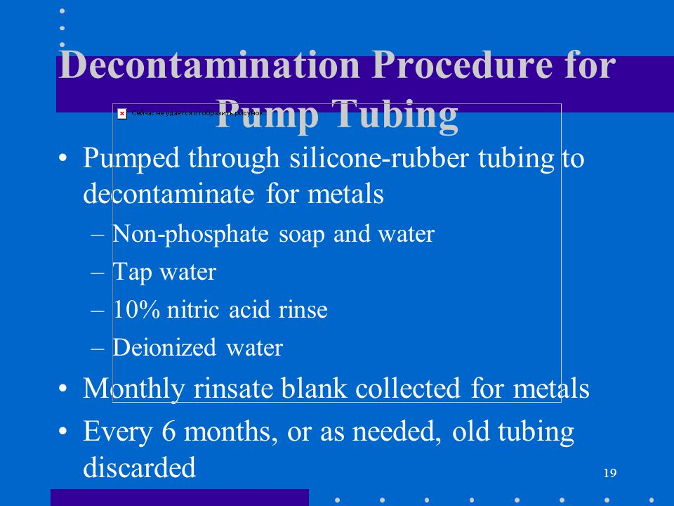 19 Decontamination Procedure for Pump Tubing Pumped through silicone-rubber tubing to decontaminate for metals –Non-phosphate soap and water –Tap water –10% nitric acid rinse –Deionized water Monthly rinsate blank collected for metals Every 6 months, or as needed, old tubing discarded