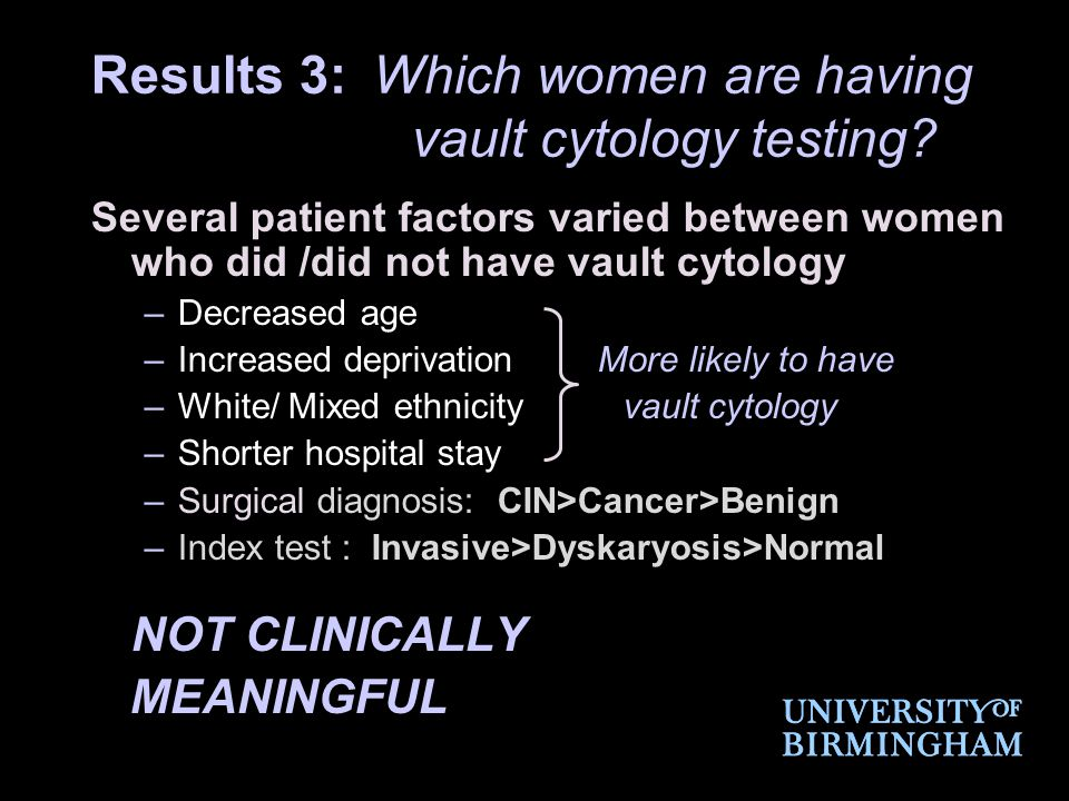 Results 3: Which women are having vault cytology testing.