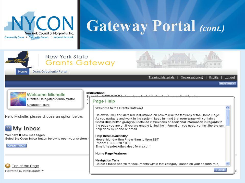 Gateway Portal (cont.)
