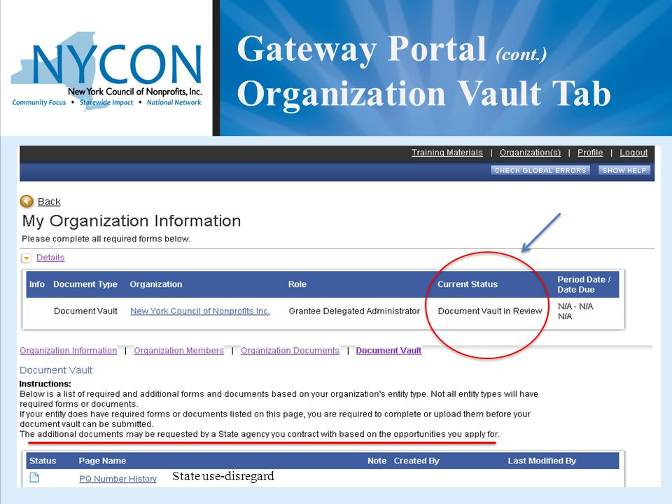 Gateway Portal (cont.) Organization Vault Tab State use-disregard