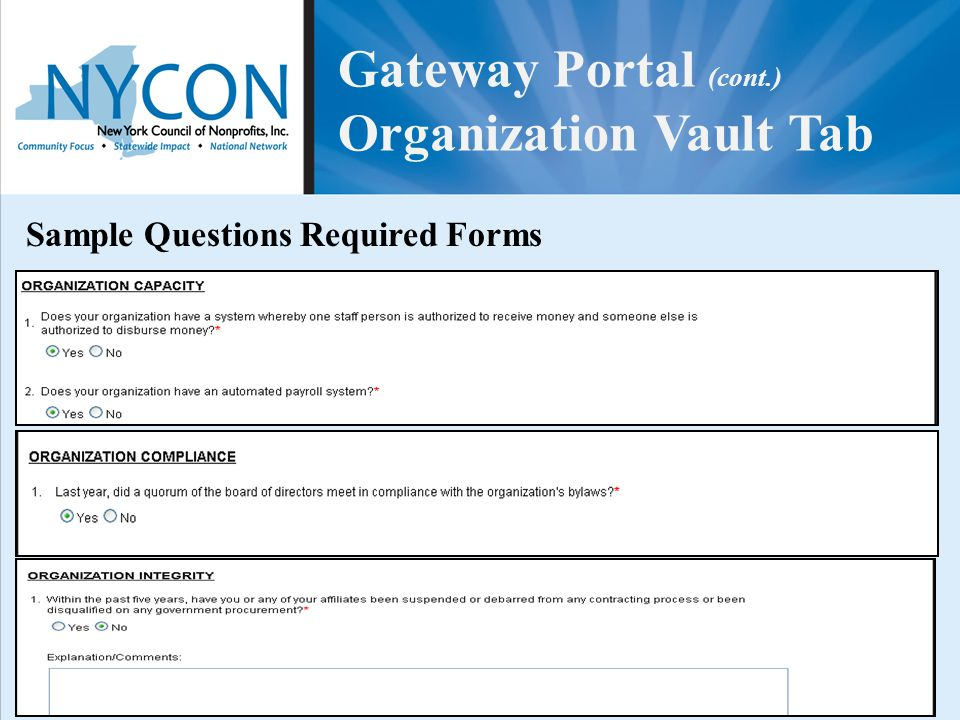 Gateway Portal (cont.) Organization Vault Tab Sample Questions Required Forms