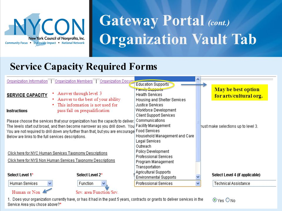 Gateway Portal (cont.) Organization Vault Tab Service Capacity Required Forms Answer through level 3 Answer to the best of your ability This informati