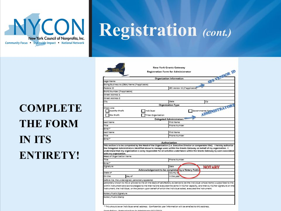 Registration (cont.) COMPLETE THE FORM IN ITS ENTIRETY!