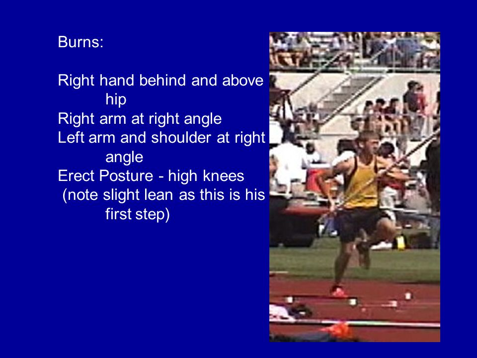 Burns: Right hand behind and above hip Right arm at right angle Left arm and shoulder at right angle Erect Posture - high knees (note slight lean as this is his first step)