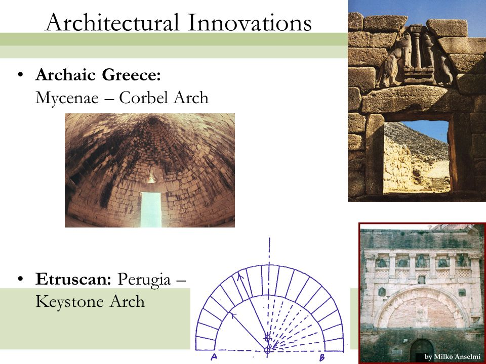 9 Architectural Innovations: ROME Barrel Vault  Groin Vault Multiple groin vaults allowed for clerestories The invention of cement made possible an Architecture of Space, not Mass.