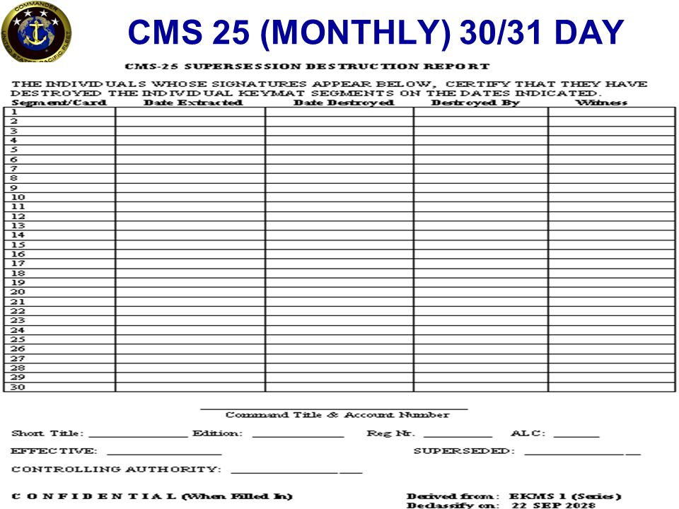 CMS 25 (MONTHLY) 30/31 DAY