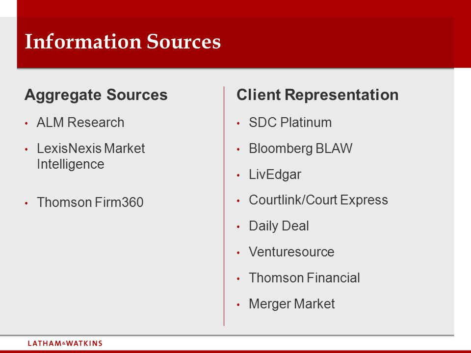 Information Sources Aggregate Sources ALM Research LexisNexis Market Intelligence Thomson Firm360 Client Representation SDC Platinum Bloomberg BLAW LivEdgar Courtlink/Court Express Daily Deal Venturesource Thomson Financial Merger Market