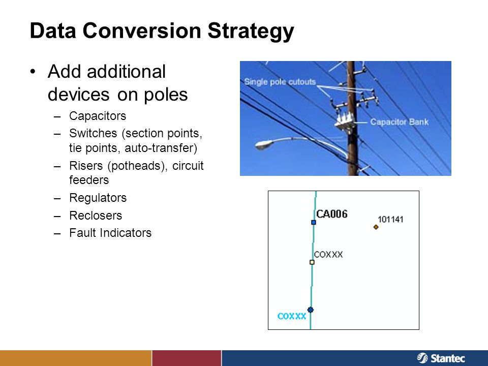 Data Conversion Strategy Add additional devices on poles –Capacitors –Switches (section points, tie points, auto-transfer) –Risers (potheads), circuit