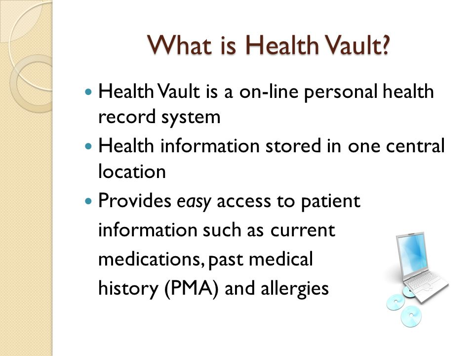 Objectives Describe the Health Vault Describe and evaluate the hardware and software utilized with this trend Examine related legal and ethical issues Discuss advantages and disadvantages related to this trend Discuss and review information systems Discuss competencies required by nursing in order to use this trend