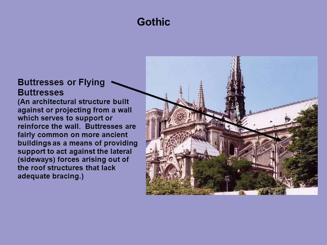 Gothic Buttresses or Flying Buttresses (An architectural structure built against or projecting from a wall which serves to support or reinforce the wall.