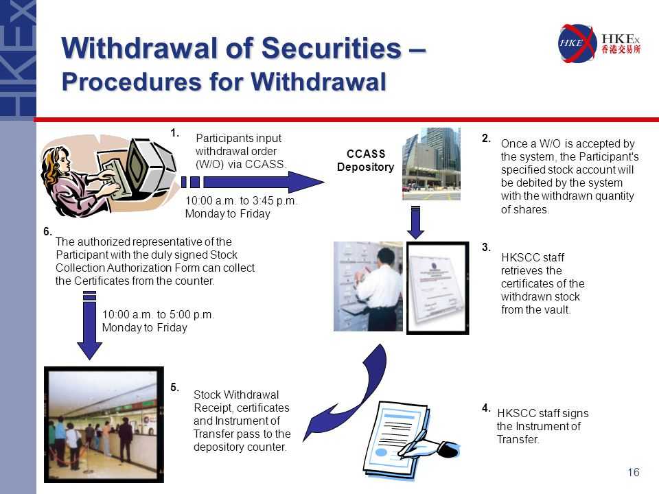 16 Withdrawal of Securities – Procedures for Withdrawal Participants input withdrawal order (W/O) via CCASS.