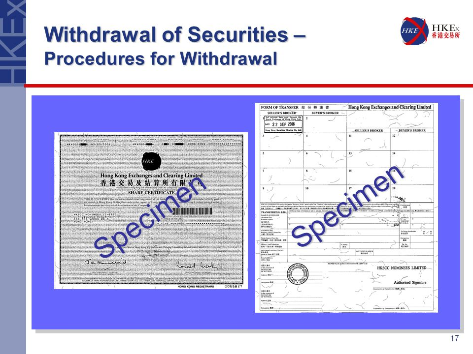 Depository nominee services hong kong securities clearing 17 17 withdrawal of securities procedures for withdrawal specimen specimen yelopaper