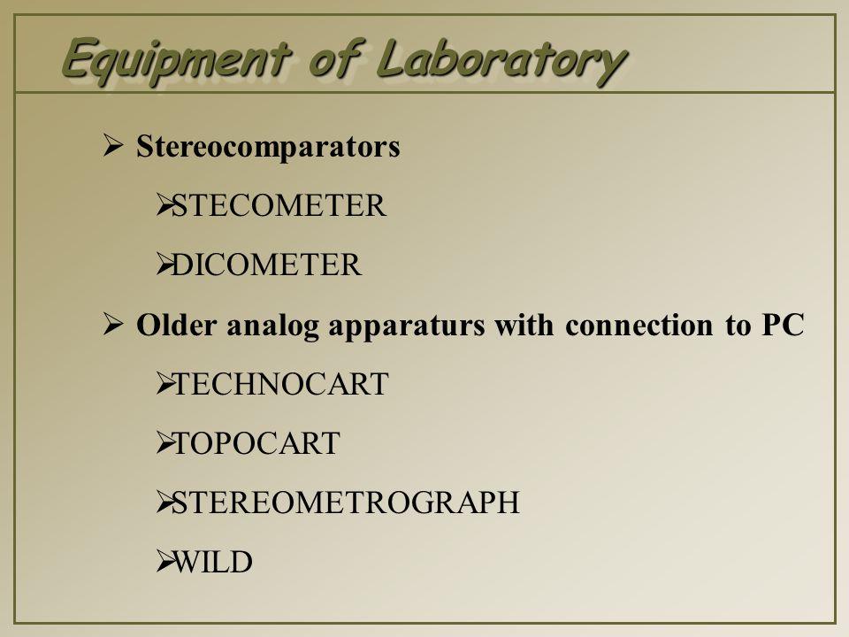 Equipment of Laboratory  Software  DVP (Leica)  VSD (Krakow)  PhoTopol (Czech Republic)  ImageStation SSK (Intergraph)  Aerosys