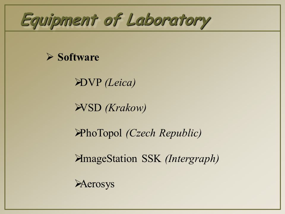 Equipment of Laboratory  Using CAD  MicroStation  Autocad 2000  AutoCAD Architectural Desktop  AutoCAD Map  AutoCAD Land Development