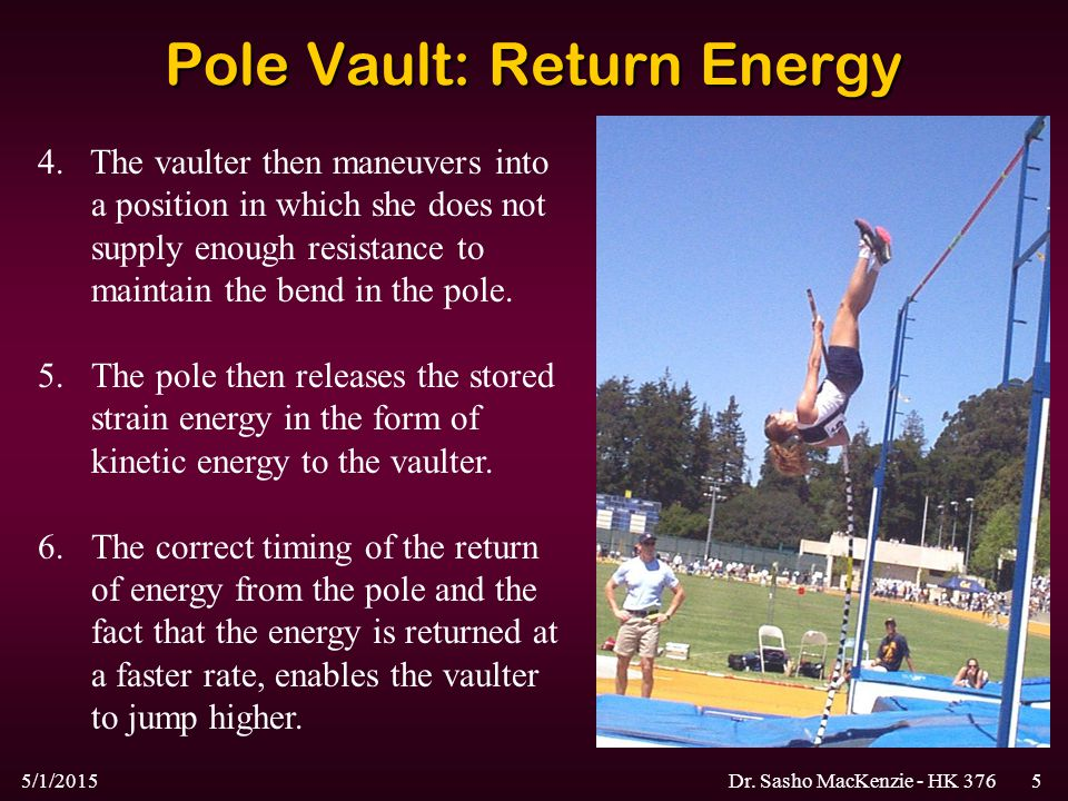 5/1/2015Dr. Sasho MacKenzie - HK 3765 Pole Vault: Return Energy 4. The vaulter then maneuvers into a position in which she does not supply enough resi