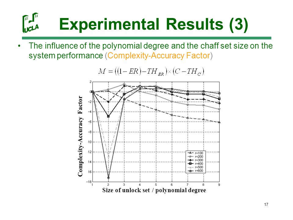 17 Experimental Results (3) The influence of the polynomial degree and the chaff set size on the system performance (Complexity-Accuracy Factor) Size of unlock set / polynomial degree Complexity-Accuracy Factor