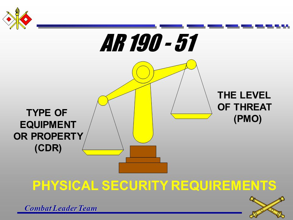 Combat Leader Team DEVELOPING A PHYSICAL SECURITY PLAN STEP 2 Develop physical security requirements based upon the results of a physical security ris